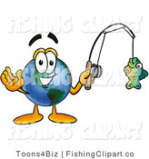 Clip Art of a Sporty World Earth Globe Mascot Cartoon Character Holding a Fish on a Fishing Pole by Toons4Biz