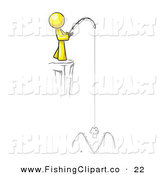 Clip Art of a Sporty Yellow Design Mascot Man Fishing on a Cliff by Leo Blanchette