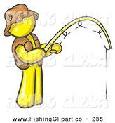 Clip Art of a Sporty Yellow Man Wearing a Hat and Vest and Holding a Fishing PoleSporty Yellow Man Wearing a Hat and Vest and Holding a Fishing Pole by Leo Blanchette