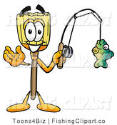 Clip Art of a Spoty Broom Mascot Cartoon Character Holding a Fish on a Fishing Pole by Toons4Biz