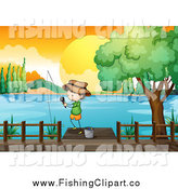Clip Art of a Stick Boy Fishing on a Dock Against a Sunset by Colematt