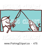 Clip Art of a Stick Figure Man Reeling in a Fish on a Pole by NL Shop