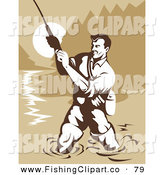 Clip Art of a Strong Muscular Fisherman Wading in a River and Reeling in His Catch by Patrimonio