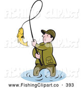 Clip Art of a Successful Wading Fisherman Bringing in His Catch by Patrimonio