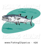 Clip Art of a Swimming Barracuda Fish Watching the Viewer by Patrimonio