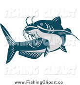 Clip Art of a Swimming Blue Catfish by Patrimonio