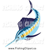 Clip Art of a Swimming Sailfish by Patrimonio