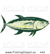 Clip Art of a Swimming Yellowfin Tuna Fish by Patrimonio