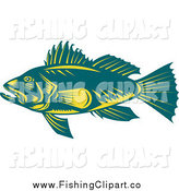 Clip Art of a Teal and Yellow Largemouth Bass Fish in Profile by Patrimonio