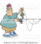 Clip Art of a Teenage Boy Holding a Rod and Reel with a Fish on the End of His Line by Djart