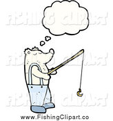 Clip Art of a Thinking Polar Bear Fishing by Lineartestpilot