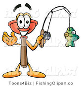 Clip Art of a Toilet Plunger Mascot Cartoon Character Holding a Fish on a Fishing Pole by Toons4Biz