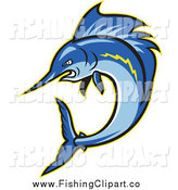 Clip Art of a Tough Blue Sailfish Jumping by Patrimonio