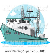 Clip Art of a Trawler Fishing Boat at Sea Sailing Left by Djart