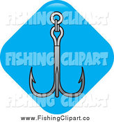 Clip Art of a Triple Fishing Hook or Anchor on a Blue Diamond by Lal Perera