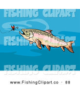 Clip Art of a Trout Chasing After Bait on a Hook in the Ocean by Patrimonio