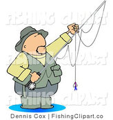 Clip Art of a Wading Fly Fisherman by Djart