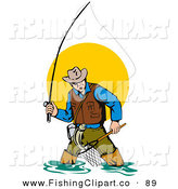 Clip Art of a Wading Fly Fisherman with a Net and Pole Against the Sun on White by Patrimonio