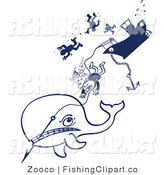 Clip Art of a Whale Pulling a Fishing Boat down by Zooco