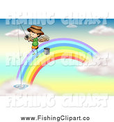 Clip Art of a White Angel Boy on a Rainbow, Fishing in the Clouds by Graphics RF