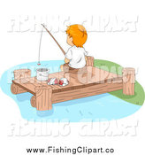 Clip Art of a White Boy Fishing off of a Lake Dock by BNP Design Studio