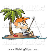 Clip Art of a White Boy Fishing on a Tropical Island by Ron Leishman