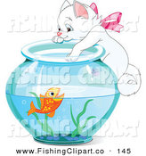 Clip Art of a White Kitty Hanging on and Reaching into a Goldfish Bowl by Pushkin