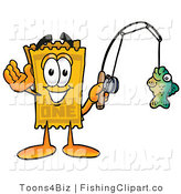 Clip Art of a Yellow Admission Ticket Stub Mascot Cartoon Character Holding a Fish on a Fishing Pole by Toons4Biz