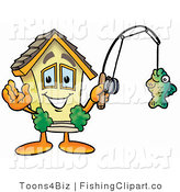 Clip Art of a Yellow House Mascot Cartoon Character Holding a Fish on a Fishing Pole by Toons4Biz