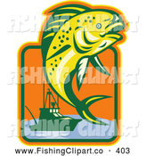 Clip Art of a Yellow Leaping Fish and Fishing Boat Logo by Patrimonio