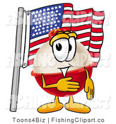 Clip Art of an American Patriotic Fishing Bobber Mascot Cartoon Character Pledging Allegiance to an American Flag by Toons4Biz