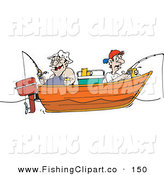 Clip Art of an Obese and Skinny Men Fishing in a Boat by Dennis Holmes Designs