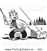 Clip Art of an Old Fashioned Black and White Man Wading and Trying to Get His Fish in a Net by BestVector