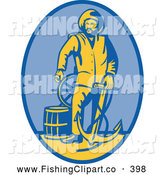 Clip Art of an Old Fashioned Fireman with an Anchor Logo by Patrimonio