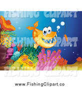 Clip Art of an Orange Carnivorous Fish and Hook at a Reef by Graphics RF
