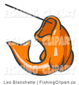 Clip Art of an Orange Trout Fish Jumping up and Biting a Hook on a Fishing Line by Leo Blanchette