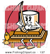 Clip Art of an Outdoorsy Marshmallow Sitting on a Dock and Fishing by Andy Nortnik