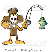 Clip Art of an Outdoorsy Wooden Cross Mascot Cartoon Character Holding a Fish on a Fishing Pole by Toons4Biz