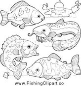 Clip Art of Black and White River Fish and a Bob by Visekart
