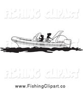 Clip Art of Black and White Women Fishing on a Boat by Lal Perera