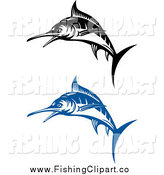 Clip Art of Blue and Black and White Jumping Marlin Fish by Vector Tradition SM