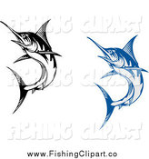 Clip Art of Blue and Black Marlin Fish by Vector Tradition SM