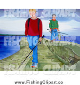 Clip Art of Boys Carrying Fishing Gear on a Pier by Prawny