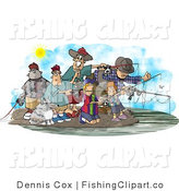 Clip Art of Family and Friends Fishing Together at a Lake on a Nice Day by Djart