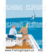 Clip Art of Fishers Catching a Marlin from a Boat by Patrimonio