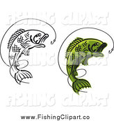 Clip Art of Green and Black and White Leaping Fish Wiith Hooks by Vector Tradition SM