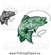 Clip Art of Green and Gray Trout Fish Leaping by Vector Tradition SM