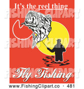 Clip Art of Its the Reel Thing Fly Fishing Advertisement Text Around a Fly Fisherman on Red by Patrimonio
