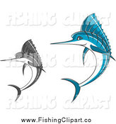 Clip Art of Jumping Blue and Gray Marlin Fish by Vector Tradition SM