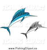 Clip Art of Jumping Blue and Grayscale Marlins by Vector Tradition SM
